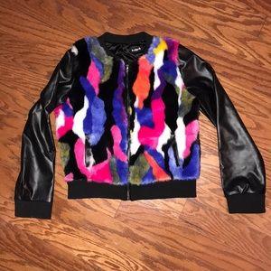 Kidpik Multicolor Fur/Pleather Coat